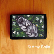 TRIFOLD WALLET · HAPPINESS IS A FIELD OF DAISIES · NORWEGIAN ELKHOUND  · AMY BOLIN