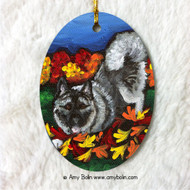 OVAL SHAPED CERAMIC ORNAMENT · AUTUMN'S SIMPLE PLEASURES · NORWEGIAN ELKHOUND · AMY BOLIN