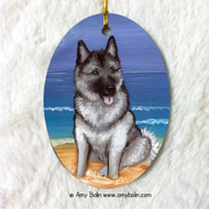 OVAL SHAPED CERAMIC ORNAMENT · BEACH BUM · NORWEGIAN ELKHOUND · AMY BOLIN