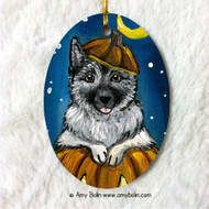 OVAL SHAPED CERAMIC ORNAMENT · HAPPY HOWLOWEEN · NORWEGIAN ELKHOUND · AMY BOLIN