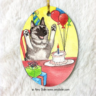 OVAL SHAPED CERAMIC ORNAMENT · IT'S MY PARTY · NORWEGIAN ELKHOUND · AMY BOLIN