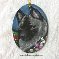 OVAL SHAPED CERAMIC ORNAMENT · MOM'S FAVORITE DAISY · NORWEGIAN ELKHOUND · AMY BOLIN