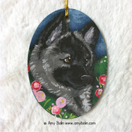 OVAL SHAPED CERAMIC ORNAMENT · MOM'S FAVORITE FLOWER · NORWEGIAN ELKHOUND · AMY BOLIN