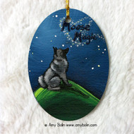 OVAL SHAPED CERAMIC ORNAMENT · MOOSE MAGIC · NORWEGIAN ELKHOUND · AMY BOLIN