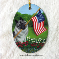 OVAL SHAPED CERAMIC ORNAMENT · PROUD TO BE AMERICAN · NORWEGIAN ELKHOUND · AMY BOLIN