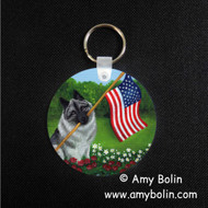 KEY CHAIN · PROUD TO BE AMERICAN · NORWEGIAN ELKHOUND  · AMY BOLIN