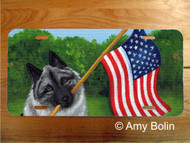 LICENSE PLATE · PROUD TO BE AMERICAN · NORWEGIAN ELKHOUND · AMY BOLIN
