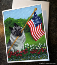 NOTE CARDS · PROUD TO BE AMERICAN · NORWEGIAN ELKHOUND · AMY BOLIN