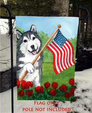 GARDEN FLAG · PROUD TO BE AMERICAN · ALASKAN MALAMUTE · AMY BOLIN