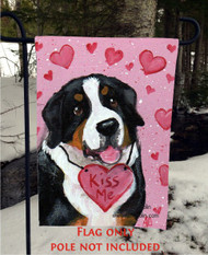 GARDEN FLAG · VALENTINE KISSES · GREATER SWISS MOUNTAIN DOG · AMY BOLIN