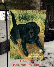 GARDEN FLAG · SHALL WE FETCH · LABRADOR RETRIEVER · AMY BOLIN