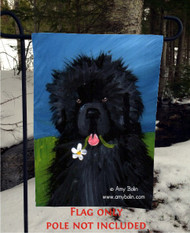 GARDEN FLAG · A FLOWER FOR MOM · BLACK NEWFOUNDLAND · AMY BOLIN