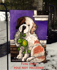 GARDEN FLAG · BEDTIME BUDDIES · HALF MASK SAINT BERNARD · AMY BOLIN