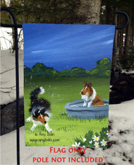 GARDEN FLAG · A QUICK DIP · SABLE SHELTIE · AMY BOLIN