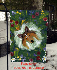 GARDEN FLAG · IN MOM'S FLOWERS AGAIN · SABLE SHELTIE · AMY BOLIN