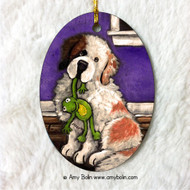 OVAL SHAPED CERAMIC ORNAMENT · BEDTIME BUDDIES · HALF MASK SAINT BERNARD · AMY BOLIN