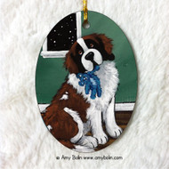 OVAL SHAPED CERAMIC ORNAMENT · BEDTIME BUDDIES · SAINT BERNARD · AMY BOLIN