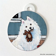 DOUBLE SIDED PET ID TAG · BEDTIME BUDDIES · SAMOYED · AMY BOLIN