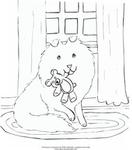 """FREE COLORING SHEET DOWNLOAD · """"Bedtime Buddies"""" · SHELTIE · AMY BOLIN"""
