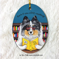 OVAL SHAPED CERAMIC ORNAMENT · DOG TAILS VOL 5 · BLUE MERLE SHELTIE · AMY BOLIN