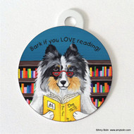DOUBLE SIDED PET ID TAG · DOG TAILS VOL 5 · BLUE MERLE SHELTIE · AMY BOLIN
