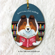 OVAL SHAPED CERAMIC ORNAMENT · DOG TAILS VOL 3 · SABLE SHELTIE · AMY BOLIN