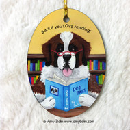 OVAL SHAPED CERAMIC ORNAMENT · DOG TAILS · SAINT BERNARD · AMY BOLIN