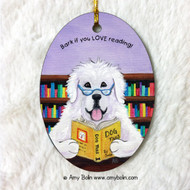 OVAL SHAPED CERAMIC ORNAMENT · DOG TAILS VOL 2 · GREAT PYRENEES · AMY BOLIN