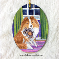 OVAL SHAPED CERAMIC ORNAMENT · BEDTIME BUDDIES · SABLE SHELTIE · AMY BOLIN
