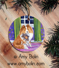 CERAMIC ORNAMENT · BEDTIME BUDDIES · SABLE SHELTIE · AMY BOLIN