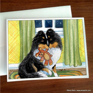 NOTE CARDS · BEDTIME BUDDIES · TRI COLOR SHELTIE · AMY BOLIN