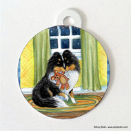 DOUBLE SIDED PET ID TAG · BEDTIME BUDDIES · TRI COLOR SHELTIE · AMY BOLIN