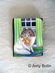 SMALL ORGANIZER WALLET · BEDTIME BUDDIES · COLOR HEADED WHITE SHELTIE · AMY BOLIN