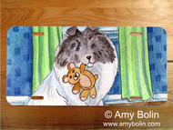 LICENSE PLATE · BEDTIME BUDDIES · COLOR HEADED WHITE SHELTIE · AMY BOLIN