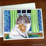 NOTE CARDS · BEDTIME BUDDIES · COLOR HEADED WHITE SHELTIE · AMY BOLIN
