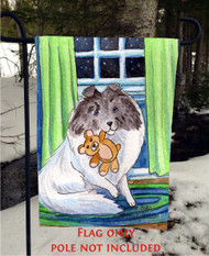 GARDEN FLAG · BEDTIME BUDDIES · COLOR HEADED WHITE SHELTIE · AMY BOLIN
