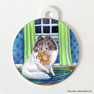 DOUBLE SIDED PET ID TAG · BEDTIME BUDDIES · COLOR HEADED WHITE SHELTIE · AMY BOLIN