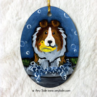OVAL SHAPED CERAMIC ORNAMENT · THE WASH TUB · SABLE SHELTIE · AMY BOLIN
