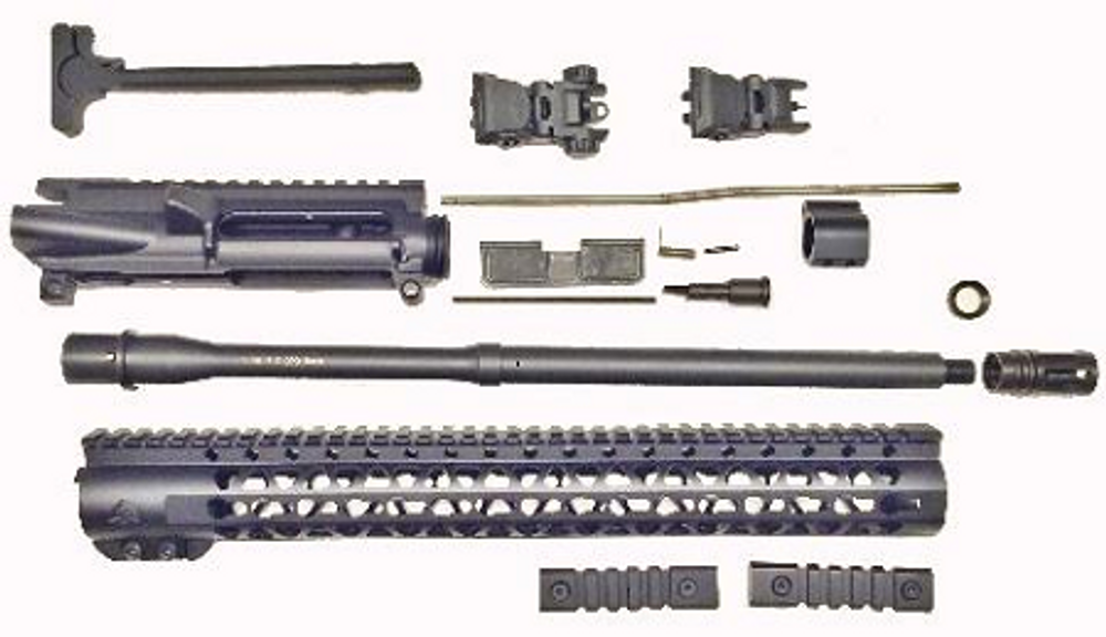 "Ar-15 AR 16"" Complete Upper Kit 5.56 .223 Nitride Mid Length Socom Barrel ,15""  Super Slim Keymod Handguard NO Bcg"