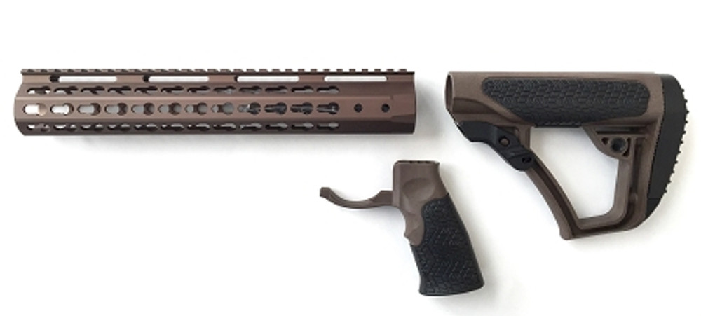 "AR-15 Daniel Defense Brown Mil-Spec Collapsible Stock & Omega Mfg 15"" Super Slim Handguard Tactical Bronze Combo HOT !!"