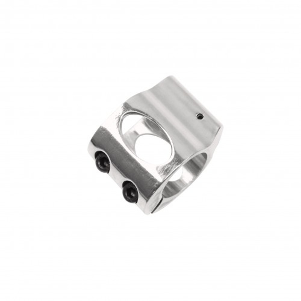 Low Profile Polished Stainless Steel Micro Gas Block - Clamp-on Design