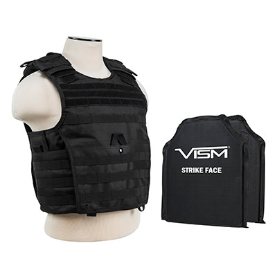 VISM Tactical Body Armor Molle Expert Plate Carrier Vest With IIIA Ballistic Panels New 2016 mfg  - Black (Rated Up To 44 Magnum Point Blank Range)