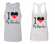 I love My Girlfriend Jersey I love My boyfriend Burnout Tank Top couples gift shirts