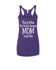 Mothers day Worlds greatest mom Triblend Racerback Tank top