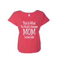 Mothers day Worlds greatest mom Ladies Triblend Dolman