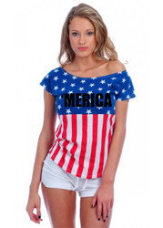 merica Independence Day 4th of july Drop Shoulder Tee w/ US Flag