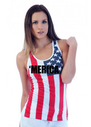 merica Independence Day 4th of july  RACER BACK TANK W US FLAG