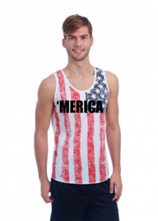 merica Independence Day 4th of july  MENS TANK W US FLAG DISTRESSED