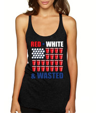 red white wasted Triblend Racerback Tank top