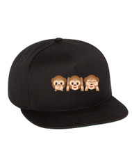Emoji 3 monkeys Flat Bill Cap gift